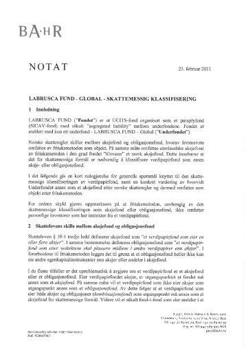LABRUSCA FUND - GLOBAL - SKATTEMESSIG KLASSIFISERING