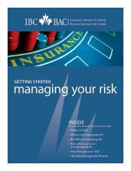 Getting started managing your risk - Insurance Bureau of Canada
