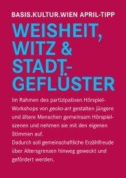 WEISHEIT, WITZ & STADT- GEFLÜSTER - Basis.Kultur.Wien