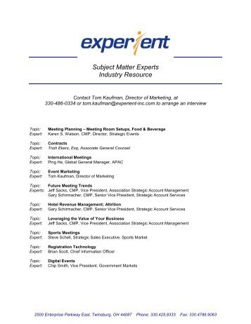 Subject Matter Experts Industry Resource - Experient