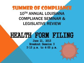 Health Form Filing - Louisiana Department of Insurance