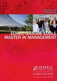 EDHEC GRANDE ECOLE MASTER IN MANAGEMENT