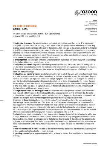 KTM X-BOW ICE EXPERIENCE CONTRACT TERMS