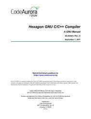 Hexagon GNU C/C++ Compiler: A GNU Manual - Code Aurora Forum
