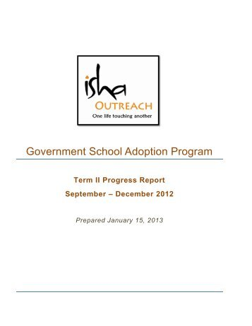 Term II: Sept. – Dec. 2012 - Isha Outreach