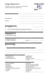 "Umfrage ""Globales Lernen"" - ELAN"