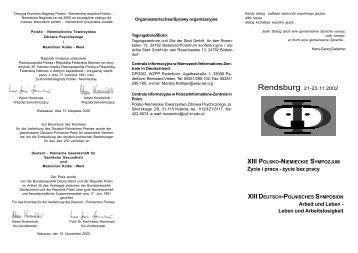 XIII Sympozjum Rendsburg - Polsko-Niemieckie Towarzystwo ...
