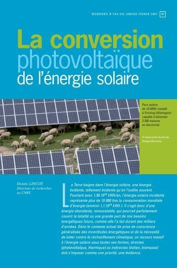 La conversion photovoltaïque - Le site des Études