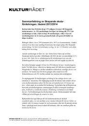 Sammanfattning av Skapande skola- fördelningen, läsåret 2013/2014