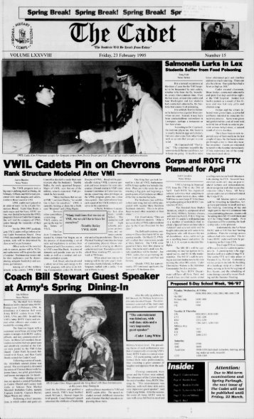 The Cadet. VMI Newspaper. February 23, 1995 - New Page 1 ...