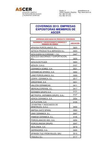 coverings 2013: empresas expositoras miembros de ... - Tile of Spain