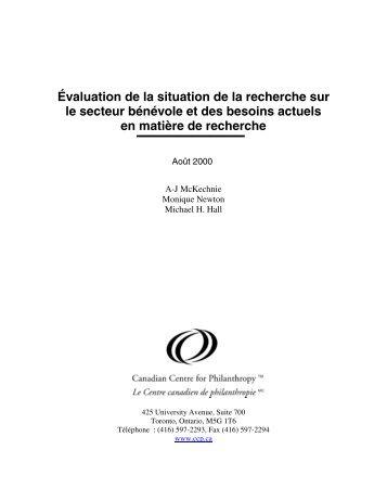Évaluation de la situation de la recherche sur le ... - Imagine Canada