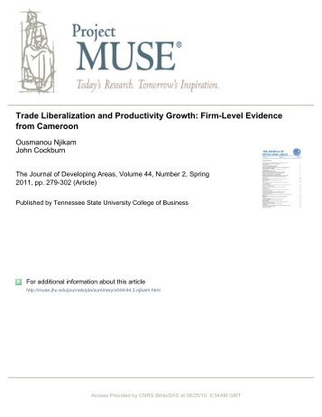 trade liberalization and productivity growth: firm-level evidence from ...