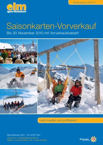 Saisonkarten-Vorverkauf - Sportbahnen Elm