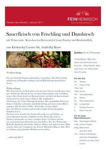 von Küchenchef Carsten Ott, Antik-Hof Bissee - Feinheimisch