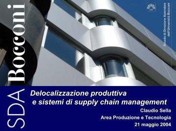 Lucidi del Prof. Claudio SELLA - SDA Bocconi