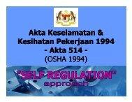 Akta Keselamatan & Kesihatan Pekerjaan 1994 - Akta 514 - (OSHA ...