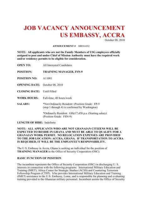 Embassy Vacancy