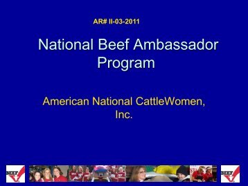 National Beef Ambassador Program - Cattlemen's Beef Promotion ...