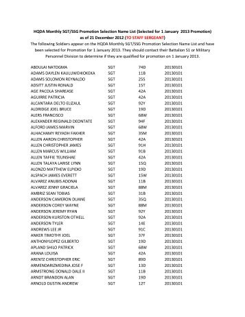HQDA Monthly SGT/SSG Promotion Selection Name List (Selected ...