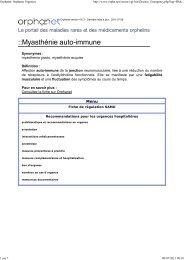 Orphanet: Orphanet Urgences - AFM - Groupe Myasthénie