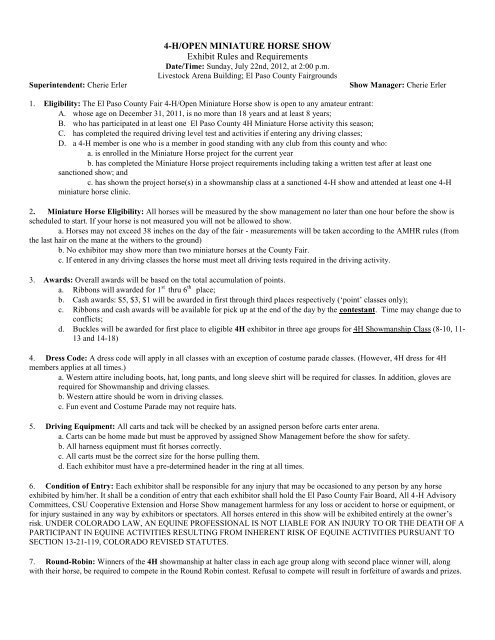 4 Hopen Miniature Horse Show Exhibit Rules And