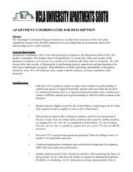 Apartment Coordinator Job Description - UCLA - Housing
