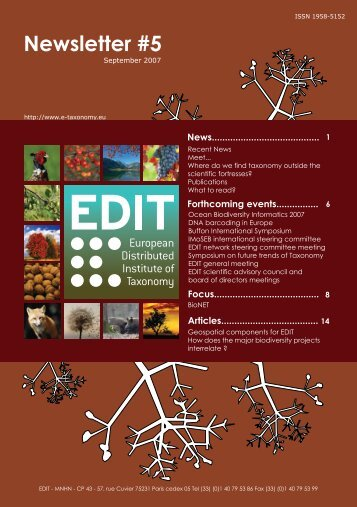 Newsletter #5 - EDIT | - European Distributed Institute of Taxonomy