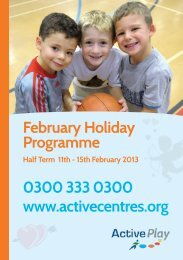 February holiday programme - Active Centre