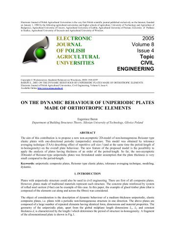 on the dynamic behaviour of uniperiodic plates made of orthotropic ...