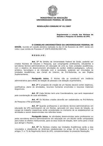 Resolução CONSUNI N. 01/2007 - PRPPG - UFG
