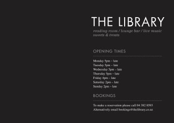 reading room / lounge bar / live music sweets & treats ... - DineOut