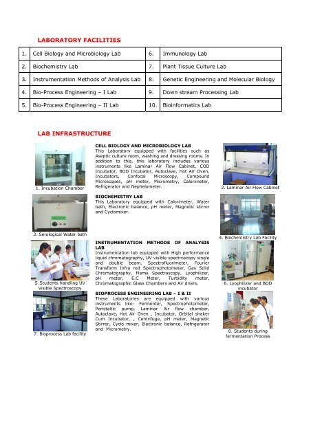 LABORATORY FACILITIES LAB INFRASTRUCTURE - Vidyanikethan