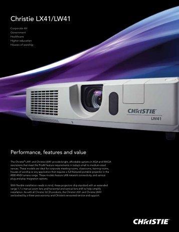 Christie LX41 and LW41 Datasheet - Christie Digital Systems