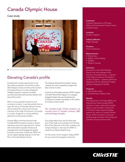 Canada Olympic House - Christie Digital Systems