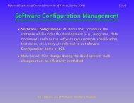 Software Configuration Management (SCM) - University of Kansas
