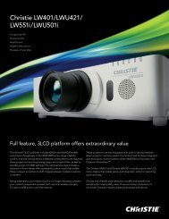 Christie LW401/LWU421/ LW551i/LWU501i - Christie Digital Systems