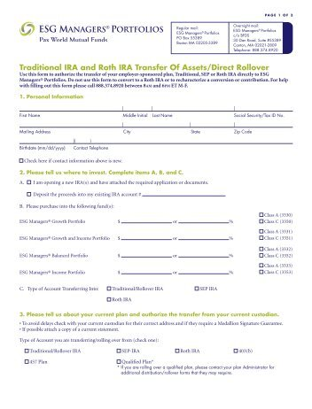 Rollover/Transfer Out Form - Mission Health