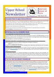 Newsletter - American School of Paris