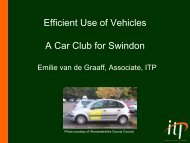 Efficient Use of Vehicles A Car Club for Swindon