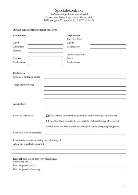 Specialekontrakt - For Studerende - Aarhus Universitet