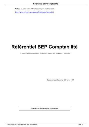 Référentiel BEP Comptabilité - Economie et Gestion au lycée ...