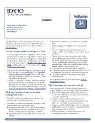 Mining (#34) - Idaho State Tax Commission - Idaho.gov