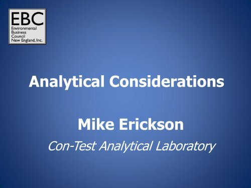 Analytical Considerations Mike Erickson