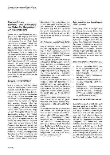 Thomas Schwan Burnout - ein unterschätz- tes Risiko für ...