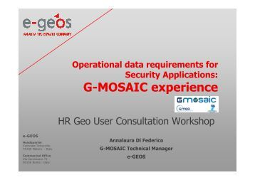G-MOSAIC experience - Data User Element - ESA