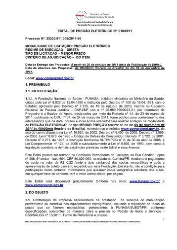 2011 Serviço manutenção equipamentos reprográficos - Fundação ...