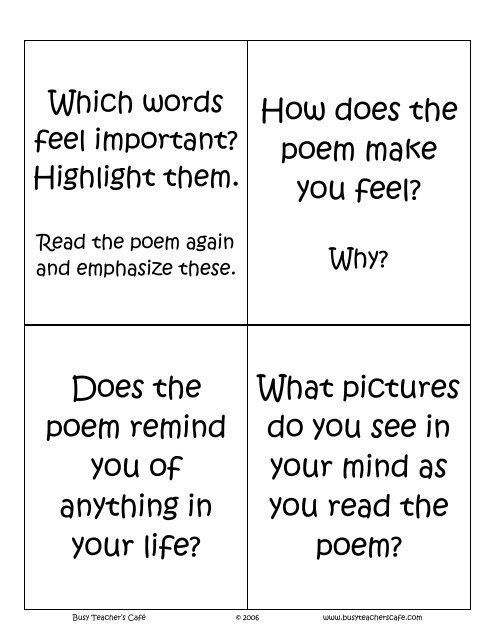 Poetry Task Cards - Busy Teacher's Cafe