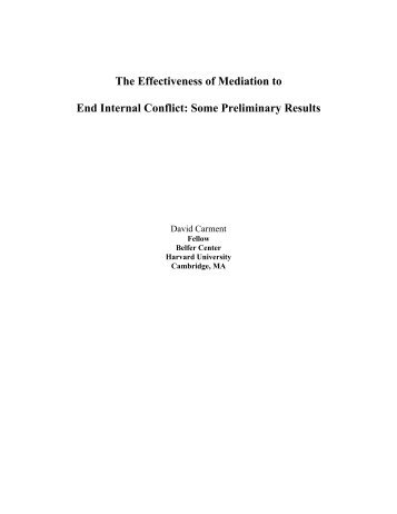 The Effectiveness of Mediation to End Internal Conflict: Some ...
