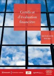 Certificat d'évaluation financière - Société Française des Evaluateurs